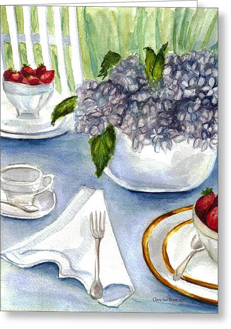Greeting Card featuring the painting Garden Tea Party by Clara Sue Beym