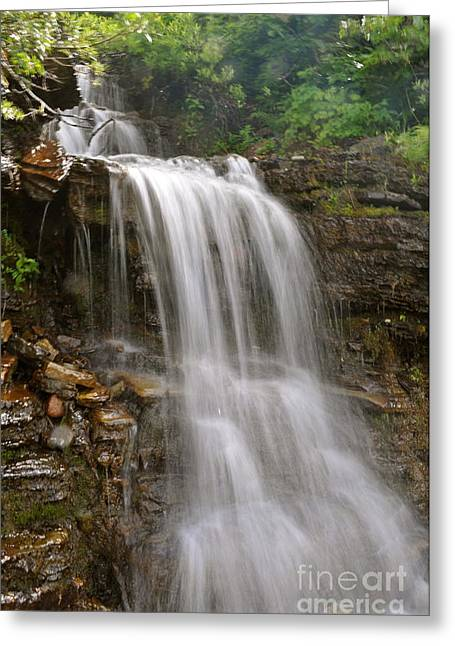 Greeting Card featuring the photograph Garden Wall Waterfall by Johanne Peale