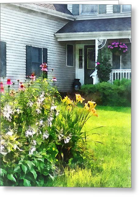 Garden With Coneflowers And Lilies Greeting Card