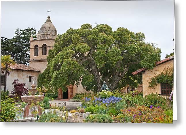 Gardens Of Carmel Mission Greeting Card by Kent Sorensen
