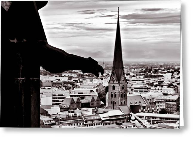 Greeting Card featuring the photograph Gargoyle Over Hamburg 2 by Edward Myers