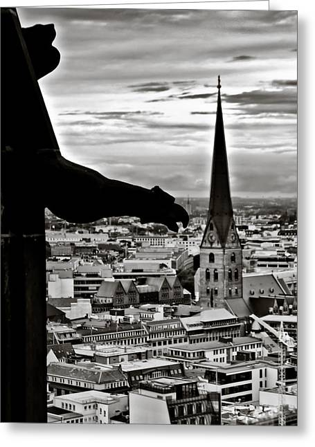 Greeting Card featuring the photograph Gargoyle Over Hamburg by Edward Myers