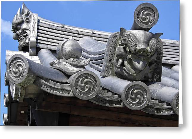 Gargoyles Of Horyu-ji Temple - Nara Japan Greeting Card by Daniel Hagerman