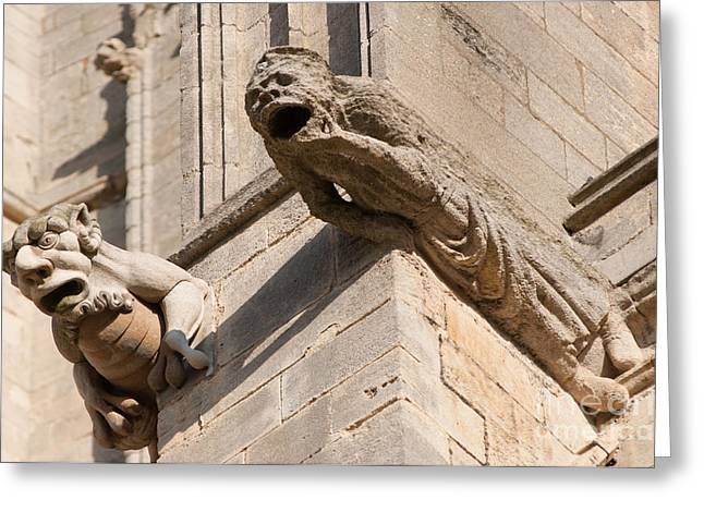 Greeting Card featuring the photograph Gargoyles On Ely Cathedral by Andrew  Michael