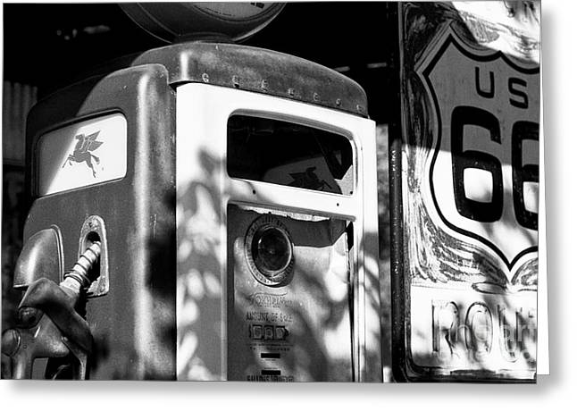 Gas Pump And Sign Greeting Card by Hideaki Sakurai