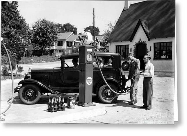 Gas Station Greeting Card by Photo Researchers