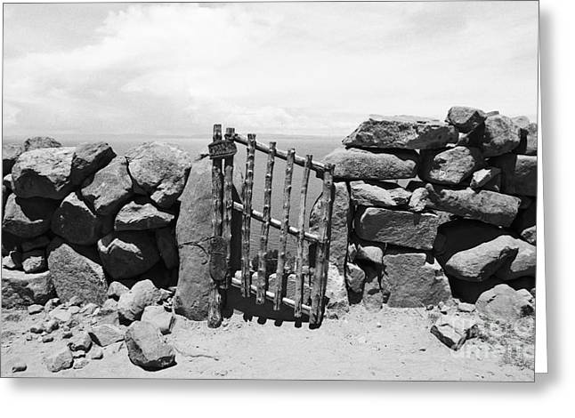 Gate Overlooking Lake Titicaca Greeting Card by Darcy Michaelchuk