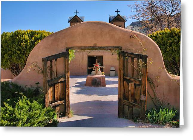 Gate To Santuario De Chimayo Greeting Card by Steven Ainsworth