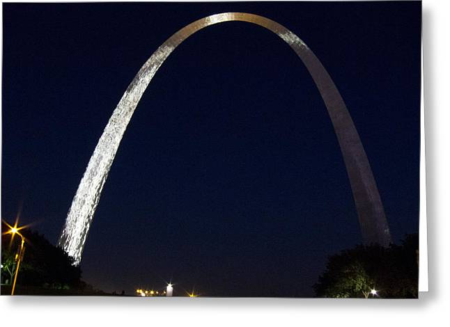 Greeting Card featuring the photograph Gateway Arch At Night by Nancy De Flon