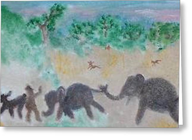 Gathering Earth Specimens At Twilight Greeting Card by Jay Manne-Crusoe