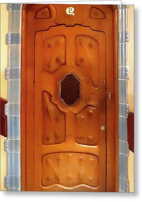 Gaudi Door Greeting Card by Roberto Alamino