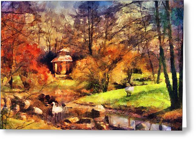 Gazebo In The Park Greeting Card by Jai Johnson