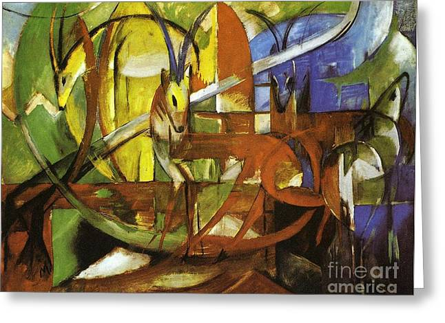 Gazelles Greeting Card by Franz Marc