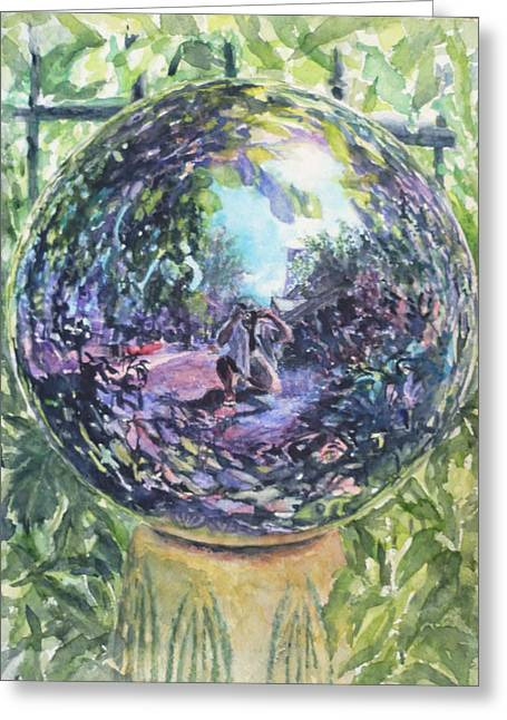 Gazing Ball Greeting Card by Harriet Hazlett