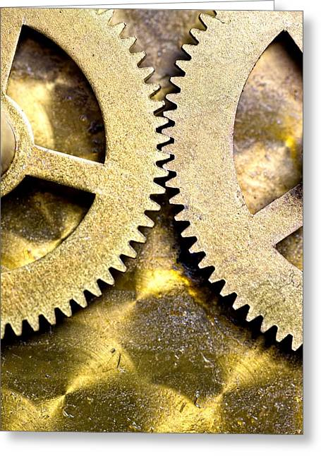 Greeting Card featuring the photograph Gears From Inside A Wind-up Clock by John Short