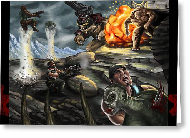 Gears Of War Battle Greeting Card by Kerstin Carrion