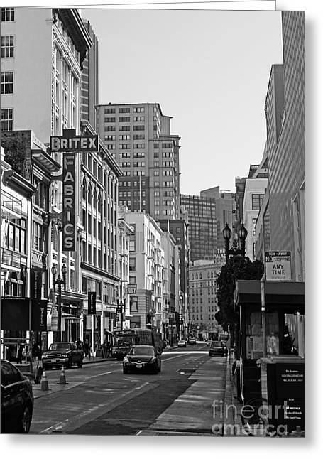 Geary Boulevard San Francisco . Black And White Photography 7d7348 Greeting Card by Wingsdomain Art and Photography