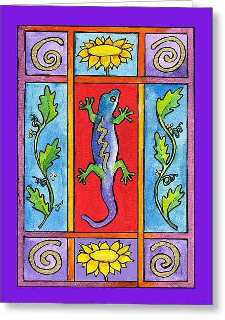 Gecko Greeting Card by Pamela  Corwin