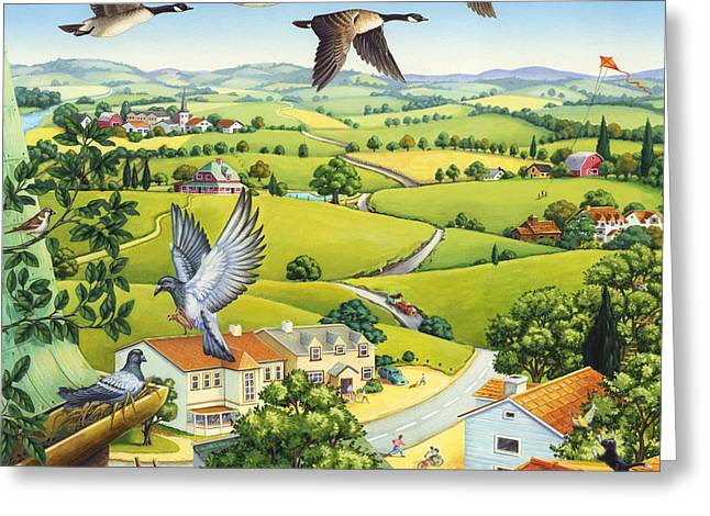 Geese Above The Town Greeting Card