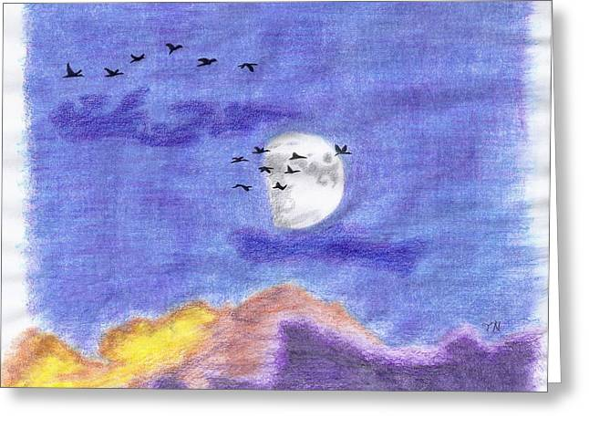Geese And The Moon Greeting Card by Tony  Nelson