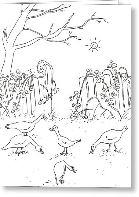 Geese In The Garden Greeting Card by Vass Eva Rozsa