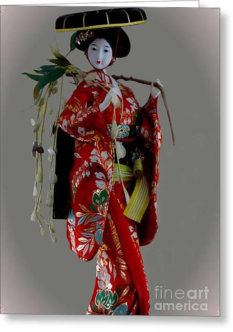 Geisha Elegance Greeting Card by Al Bourassa