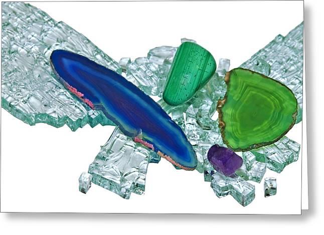 Gemstones And Broken Glass Greeting Card by Susan Leggett
