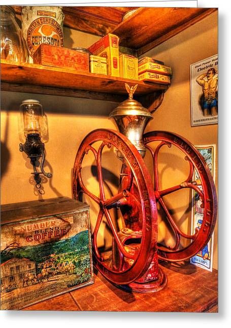 General Store Coffee Mill - Nostalgia - Vintage Greeting Card