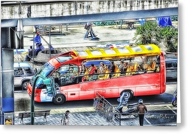 Genoa Sightseeing City Bus Greeting Card by Enrico Pelos