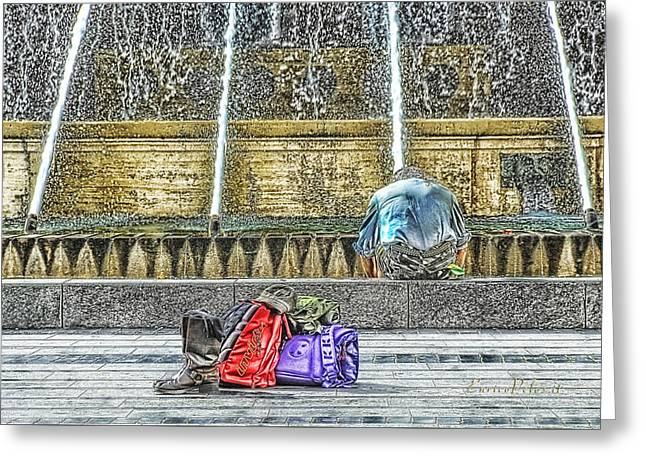 Greeting Card featuring the mixed media Genoa Sweet Hitchhiker In De Ferrari Square by Enrico Pelos