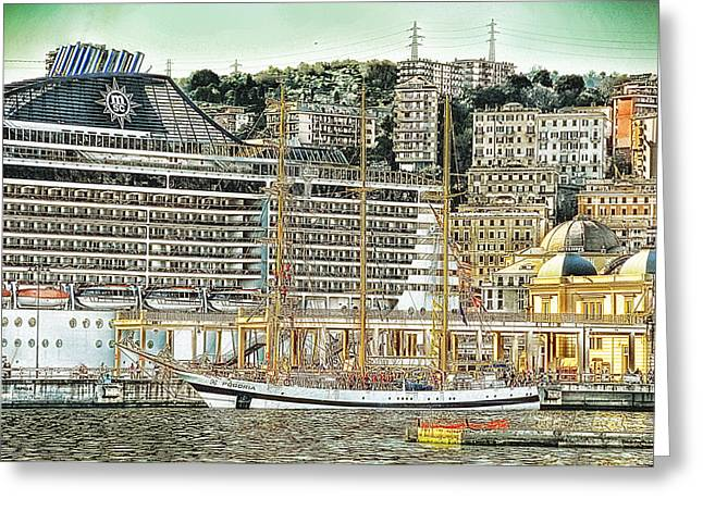 Genova Cruising And Sailing Ships And Buildings Landscape Greeting Card by Enrico Pelos