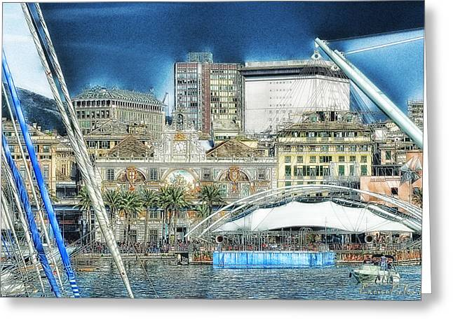 Genova Expo Area With Saint George Building Greeting Card by Enrico Pelos
