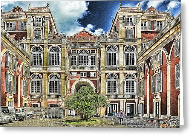 Greeting Card featuring the mixed media Genova Palazzo Reale - Royal Palace Of Palazzo Dei Rolli by Enrico Pelos