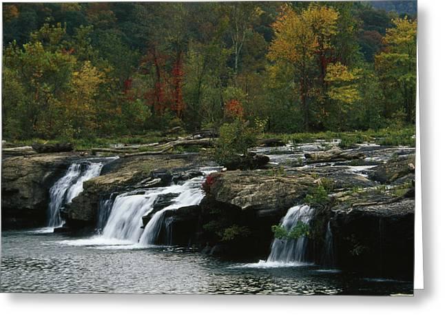 Gentle Small Waterfalls Cascading Greeting Card by Raymond Gehman