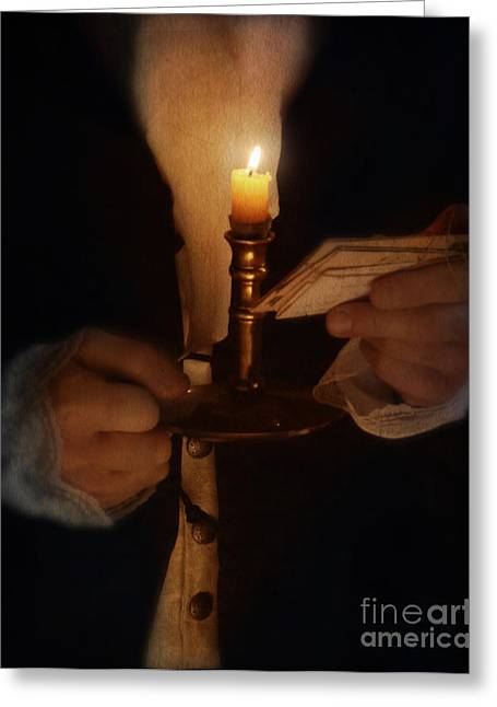 Gentleman In Vintage Clothing With Candlestick And Letters Greeting Card by Jill Battaglia
