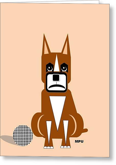 Geo Boxer Greeting Card by Maria Urso