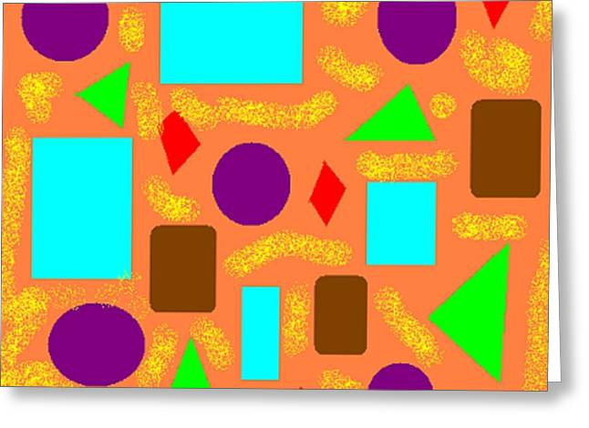 Geometric Abstract- Orange Greeting Card by Jeannie Atwater Jordan Allen