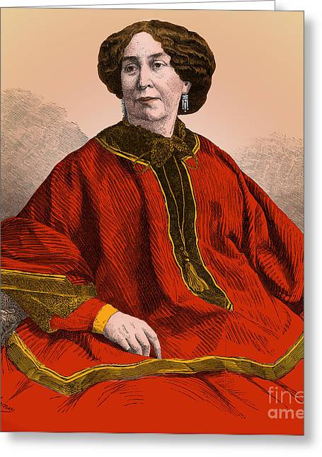 George Sand, French Author And Feminist Greeting Card by Science Source