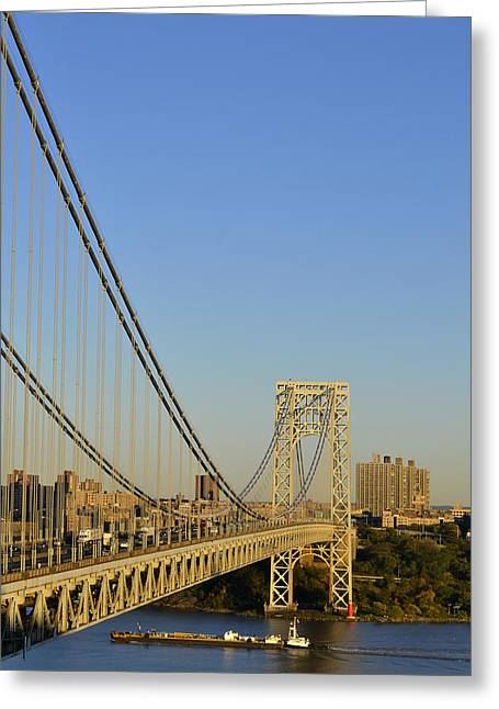 George Washington Bridge And Boat Greeting Card