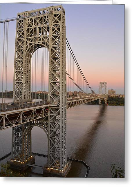 George Washington Bridge At Sunset Greeting Card