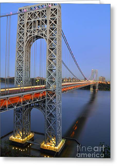 George Washington Bridge At Twilight Greeting Card