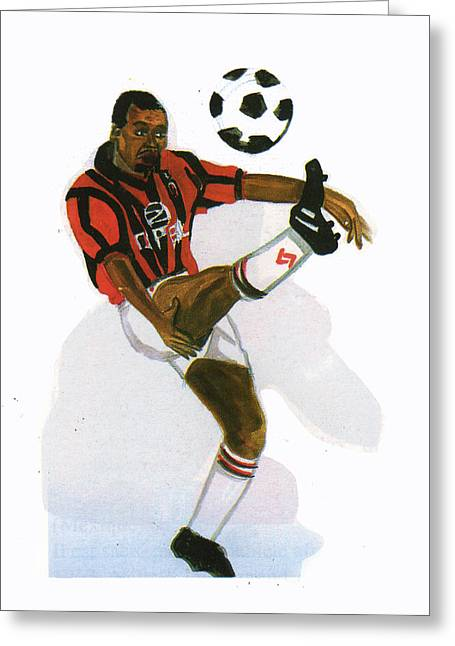 George Weah In Action Greeting Card by Emmanuel Baliyanga