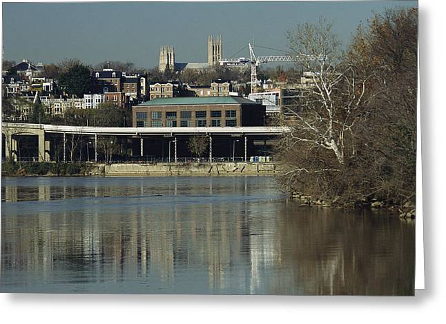 Georgetown And National Cathedral Seen Greeting Card by Raymond Gehman