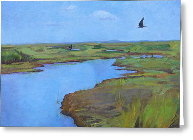 Greeting Card featuring the painting Georgia Marsh by Rachel Hames