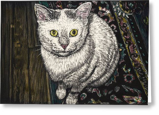 Georgie The Cat Greeting Card by Robert Goudreau