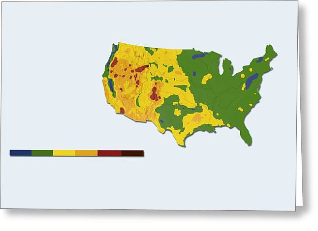 Geothermal Mapping, Usa Greeting Card by Claus Lunau