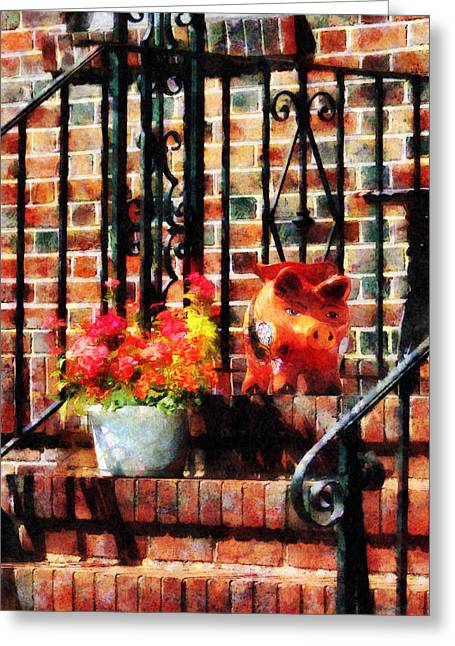 Geraniums And A Pig Greeting Card by Susan Savad
