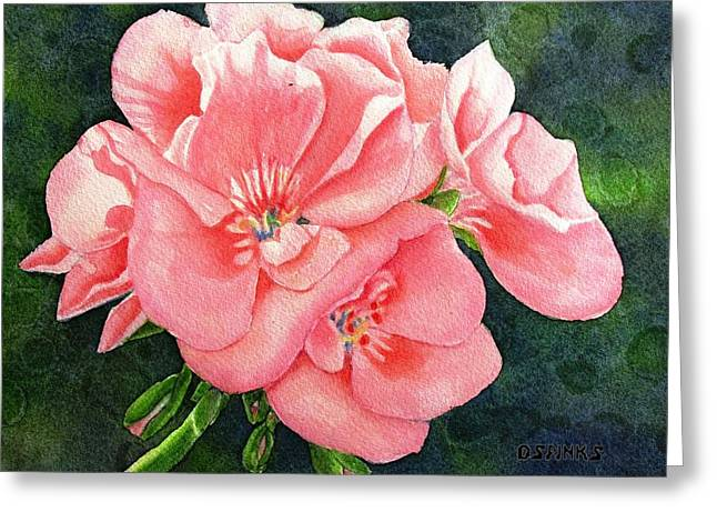 Geraniums Greeting Card by Debra Spinks
