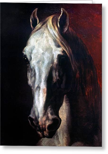 Gericault: White Horse Greeting Card by Granger