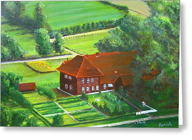 German Farm Two Greeting Card by Paintings by Parish